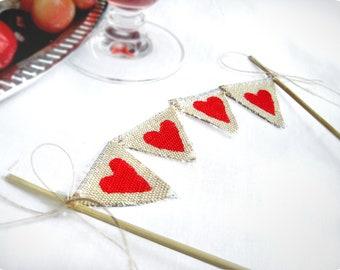 Hearts Baker Banner wedding cake topper - Rustic Wedding cake banner