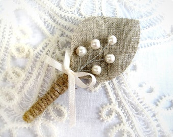 Set of 4- Burlap Groom's Boutonniere for Wedding Rustic Bout with white pearls