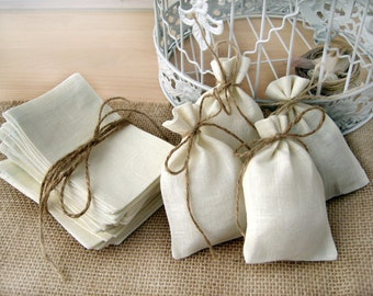 SET OF 85 Eco Rustic Linen Wedding Favor Bag or Gift Bag 3,5x4,5