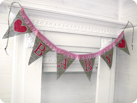 burlap baby banner with hearts shower decoration photo prop baby