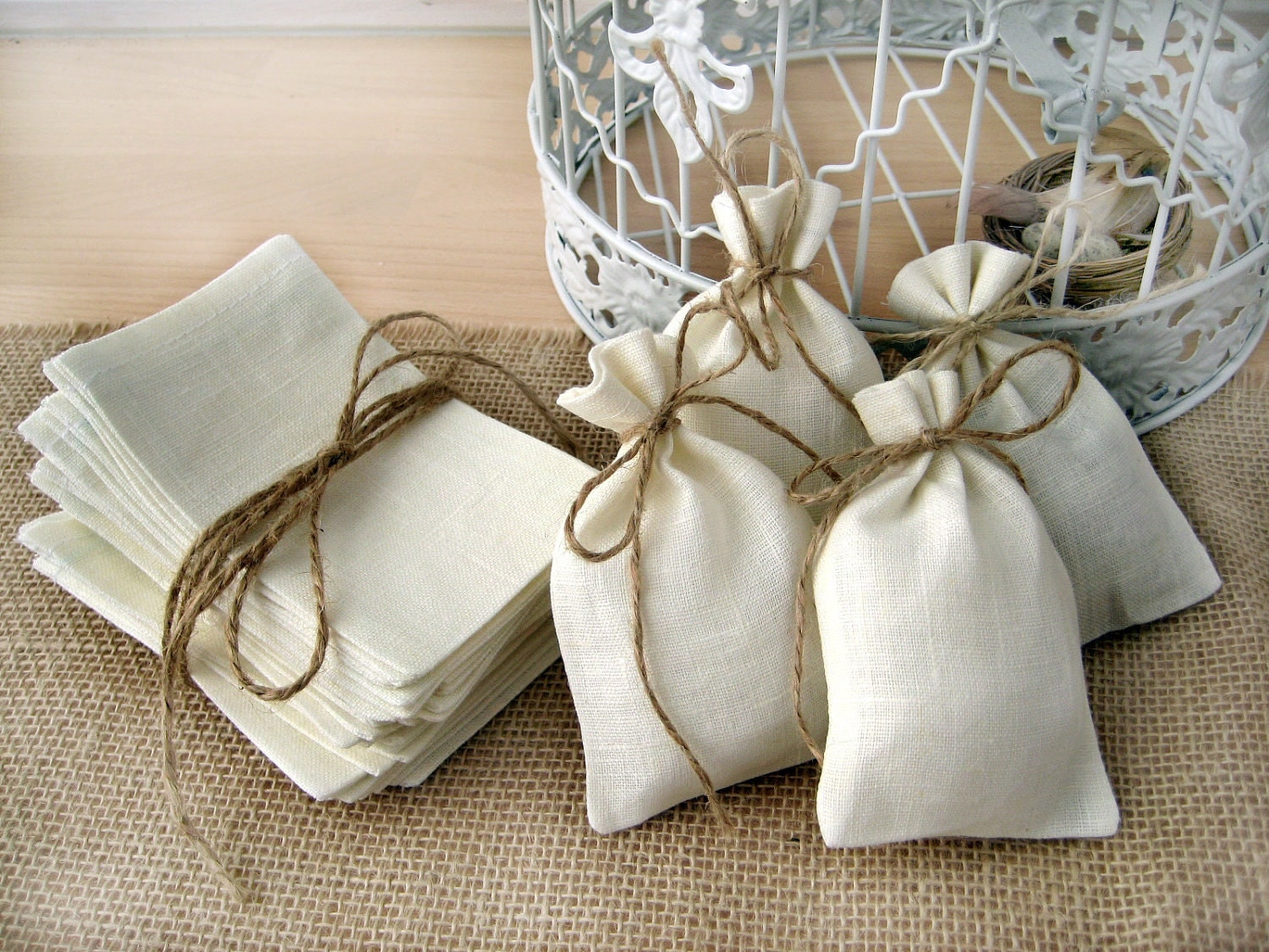 Wedding Favor Bags Or Boxes : SET OF 10 Eco Rustic Linen Wedding Favor Bag or Gift Bag