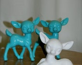Up-cycled Vintage Reindeer Turquoise and White Set of 3
