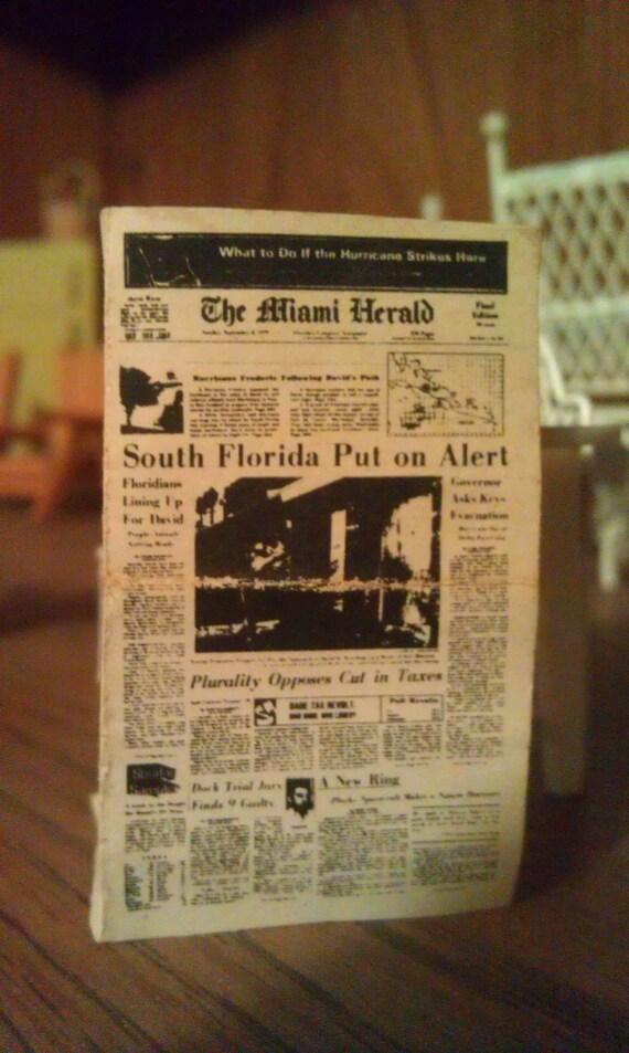 "Vintage Dollhouse Miniature Newspaper ""Miami Herald"""