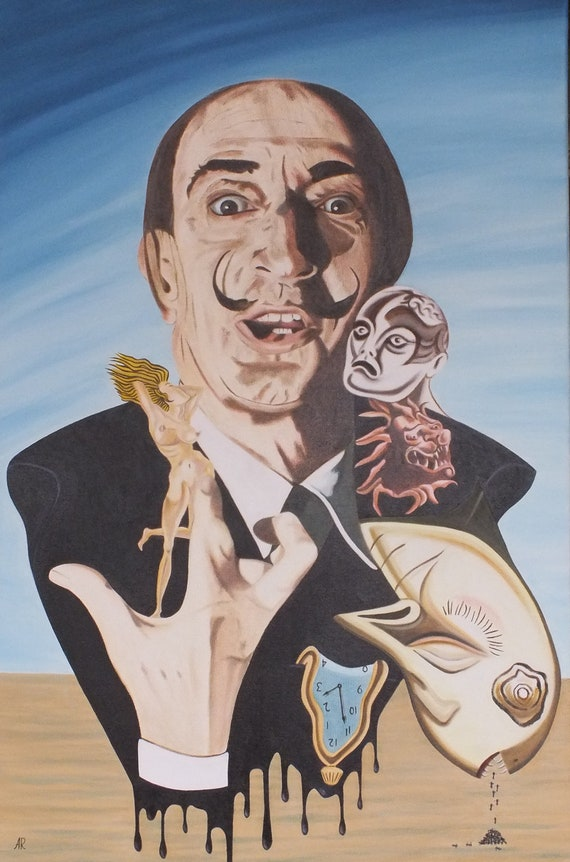 Salvador Dali - Original Oil Painting on stretchered canvas by International artist Allen Richings