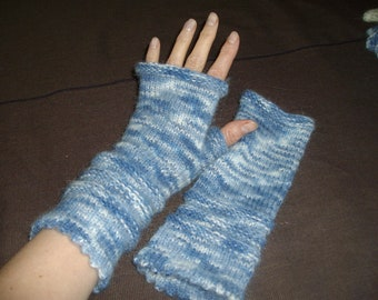 Fingerless gloves, wristwarmers Blue white multicolour soft FREE shipping