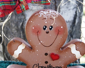 Gingerbread Cookie Wood Christmas Decoration - Shelf Sitter or Wall Hanging