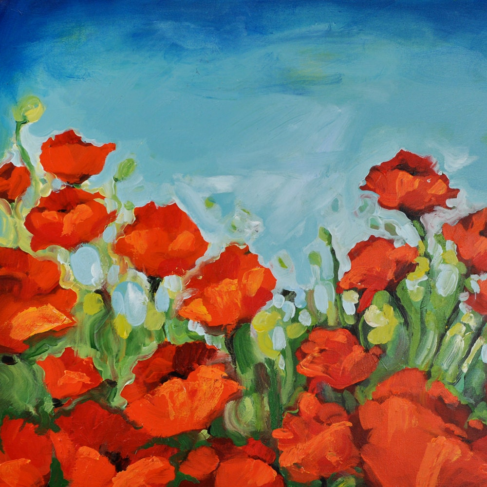 Poppy flower painting acrylic viewing gallery - How to paint poppy flowers ...
