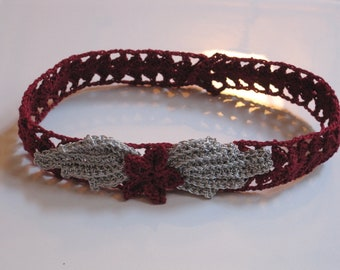 Burgandy and Silver Hand Crocheted Choker