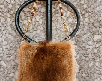 Vintage Red Raccoon Handbag