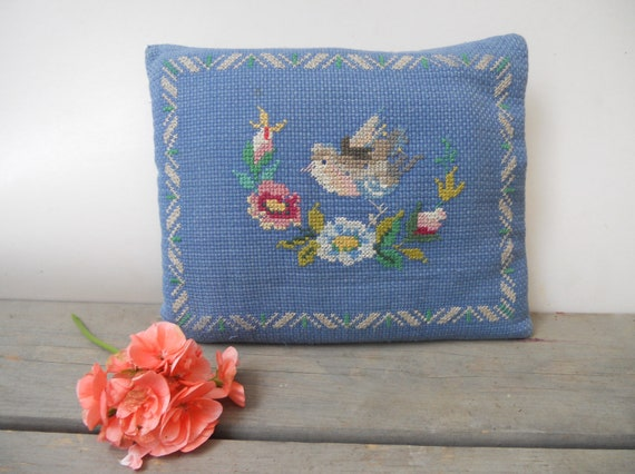 Blue Embroidered Cross Stitched Pillow Floral embroidered pillow Scandinavian cushion 1960-70s