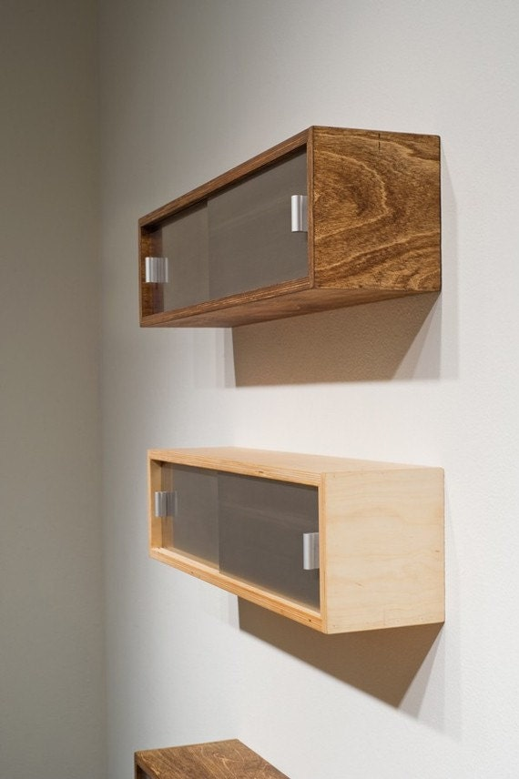 items similar to two floating shelves with sliding doors on etsy