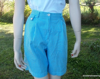 80's Vintage Gingham High Waisted Golf Shorts