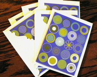destash cards scrapbooking ... PURPLE CIRCLES CARDS grp of 6 with envelopes ...