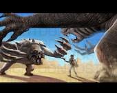 Poster Star Wars Rancors vs Boba Fett Digital Painting