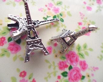 10pcs silver Iron tower  pendant   Lead-free nickel  charm  13x35mm