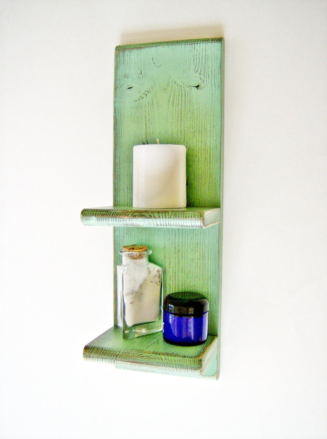 Bathroom decor accessory green wall shelf by blueridgesawdust for Bathroom decor green walls