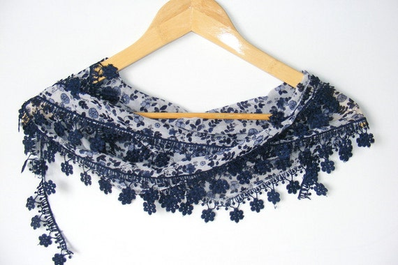 Cotton scarf,woman scarves,Turkish cotton Yemeni scarf,gift ideas,navy blue and white,floral scarf,for her,fashion scarves,new