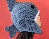 Crochet Pattern PDF Shark Earflap Hat. (All Sizes Included: Newborn to Adult). Permission to sell finished items.