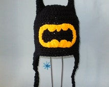 Crochet Pattern PDF Batman Hat. Beanie and Earflap. (All Sizes Included: Newborn to Adult). Permission to sell finished items.