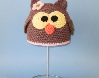 Owl Girl Beanie Hat. (Any Sizes: Newborn to Adult). Please send the size.
