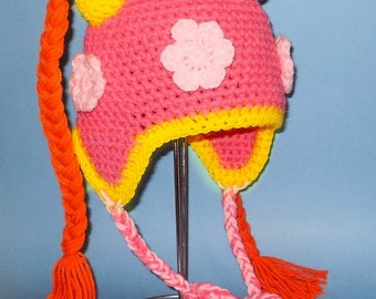 Milli Earflap Hat. (Any Sizes: Newborn to Adult). Please send size.