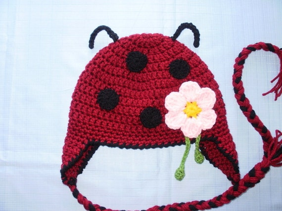 Crochet Pattern PDF Lady Bug Hat. Beanie and Earflap. (All Sizes Included: Newborn to Adult). Permission to sell finished items.