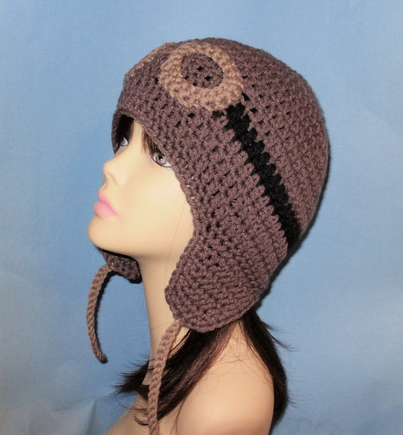 Free Crochet Pattern Earflap Beanie : Crochet Pattern PDF Pilot Hat. Beanie and Earflap. All Sizes
