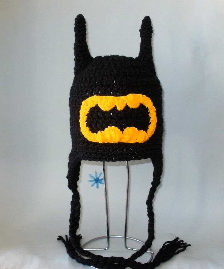 Crochet Pattern Batman Hat : Crochet Pattern PDF Batman Hat. Beanie and Earflap. All Sizes