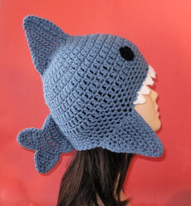 Crochet Pattern PDF Shark Earflap Hat. All Sizes Included: