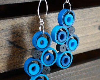 First Anniversary Gift for Her / Paper Jewelry Gift / Eco Friendly Jewelry / 1st Anniversary Gift for Her / Colorful Earrings - Circulo