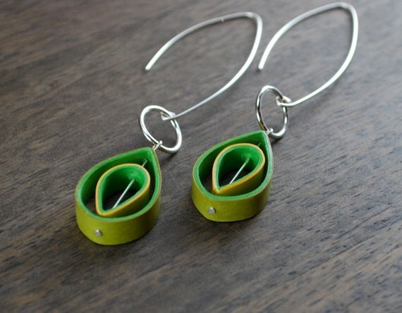 Paper earrings st anniversary gift by roguetheorypulp