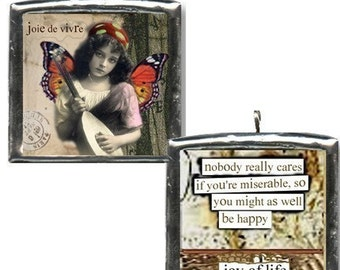 Joie de vivre. Unique art collage charm. Fariy girl with mandolin. Double sided, soldered pendant