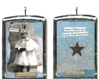 Snow Princess. Handcrafted altered art pendant. Soldered pendant charm