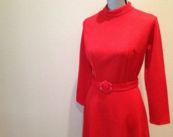 Mod Red Dress - Aline 60s Original - Small 4 6