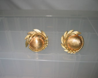 Trifari Neoclassic Olive Branch and Sphere Goldtone Clip Earrings