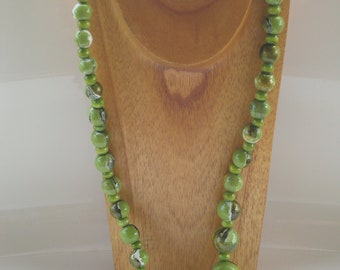 hand painted lime green and gold marbleized wooden bead necklace