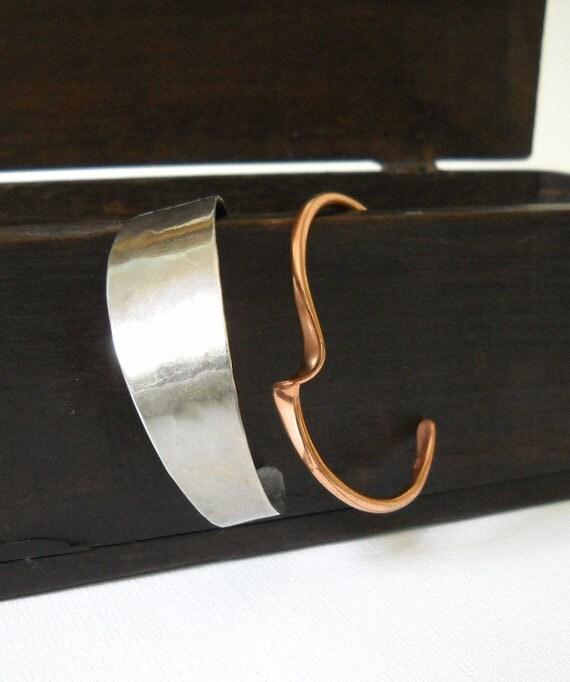Vintage Mixed Metals Pair Cuff Bracelets