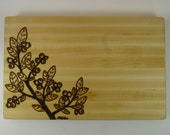 """7""""x11"""" Maple cutting board with blueberry design"""