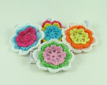 Crochet Flower Hair Clip / Hair Clip / Baby Hair Clip / Toddler Hair / No Slip Clip