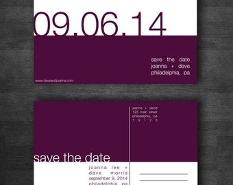 Modern DIY Printable Save the Date Postcard