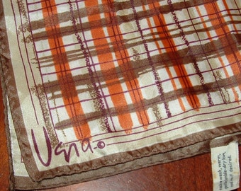 Vera Scarf with Brown and Burnt Orange Plaid on White