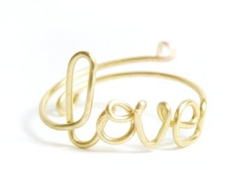 adjustable gold wire 'love' ring