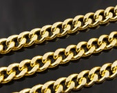 Gold Plated Aluminum Chunky Curb Chain, 14x11mm, Thread Dia. 3.3mm, Pkg of 1m(1.1 yards.), N098.GO01.L1M