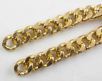 Gold Chunky Curb Aluminum Chain with Twisted Pattern, 16x13mm, Thread Dia. 3.5mm,  Pkg of 1m (1.1 yard), N0AC.GO01.L1M