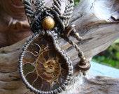 Fossil Ammonite Crystallized Prehistoric Shell Pendant Micro Macrame Hand Made Eco-friendly Moss Green Hemp Cord Necklace