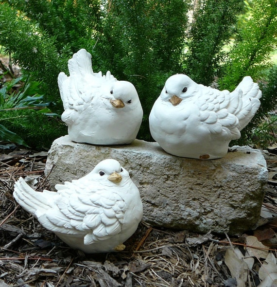 Trio Of White Doves Cement Bird By Harkcreationshouston On