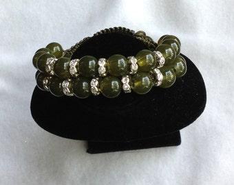 Women Shamballa Bracelet-Olive Green,Rhinestone