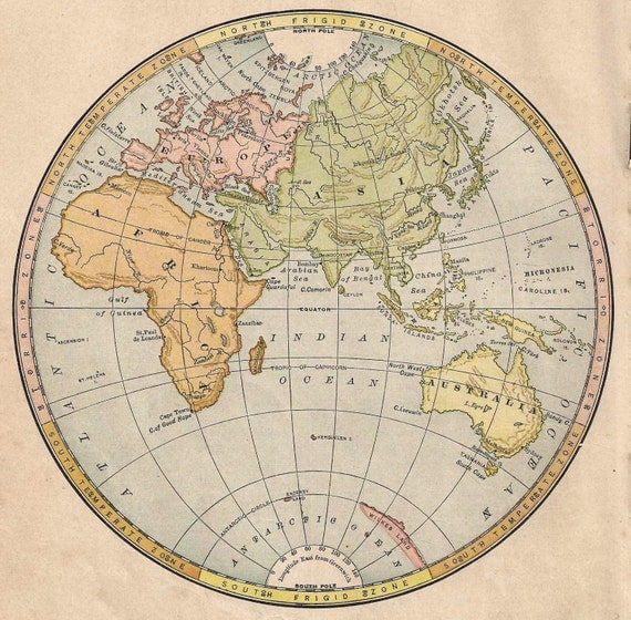 Eastern Hemisphere Map With Names 1888 map Easter...