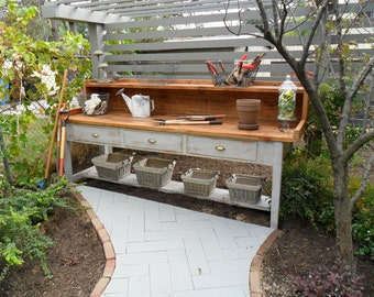 Items similar to Garden Potting table White Cottage Shabby Rustic