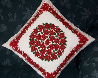 CLEARANCE - SALE - Christmas Hanky Pillow Cover